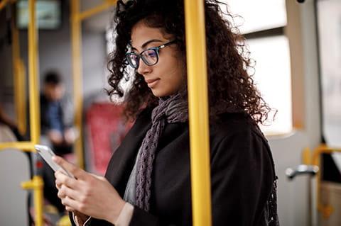 Woman on phone transport