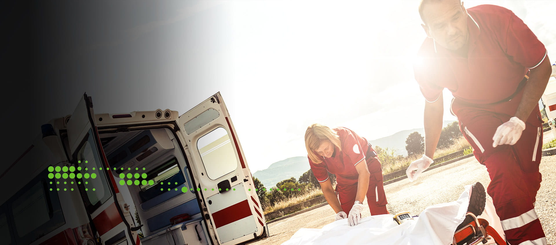 Emergency workers ambulance