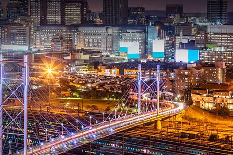 City landscape with bridge