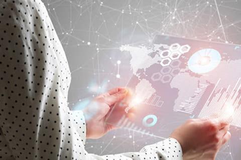 Woman looking at digital UI