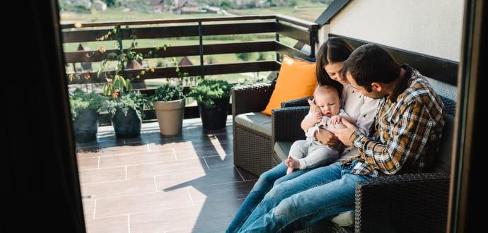 Family sitting on the veranda