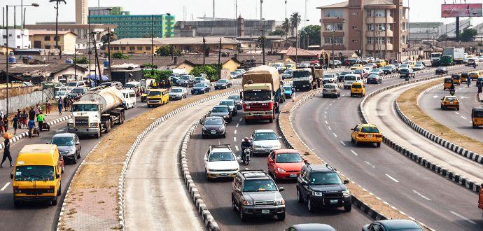 World's roads with traffic jam