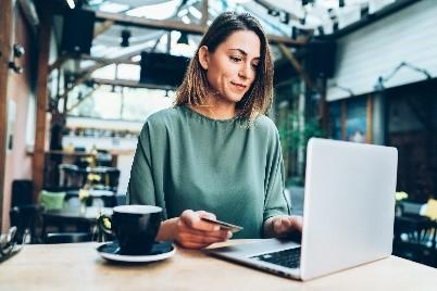 Business women online shopping