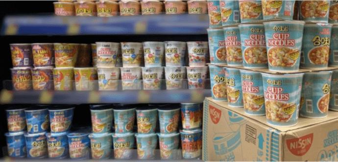 Noodle cups at a supermarket shelves