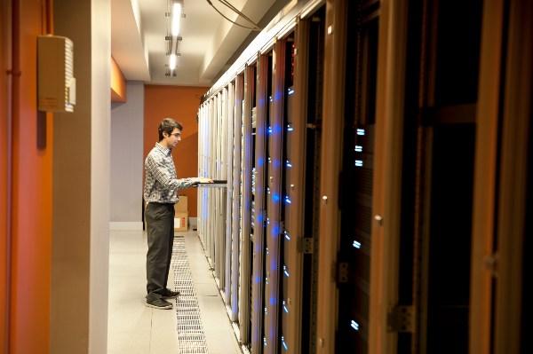 Business man inputting data