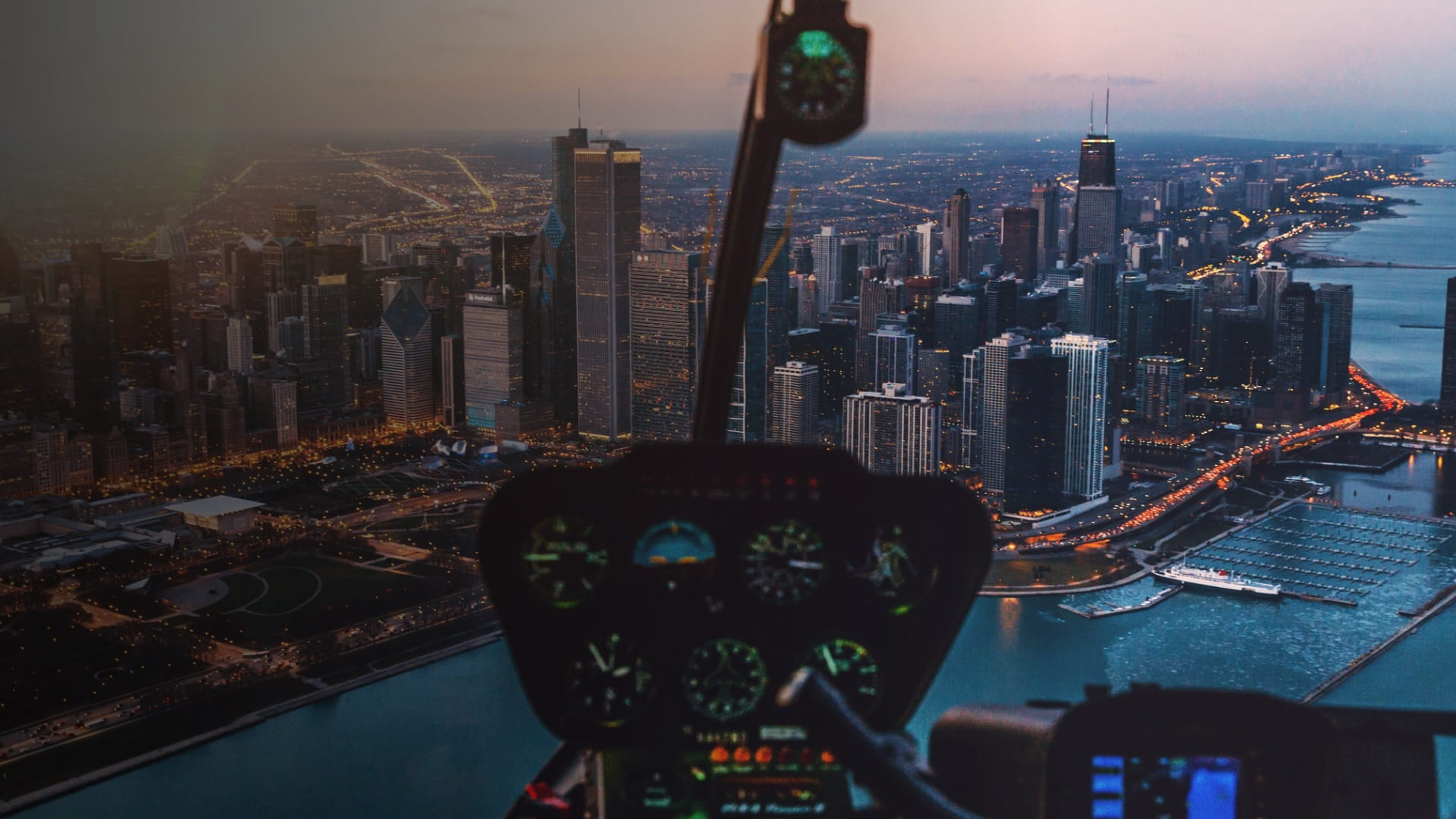 View of city from within a helicopter
