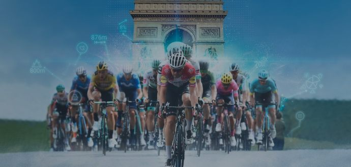 Tour de France cyclists with data points in the background