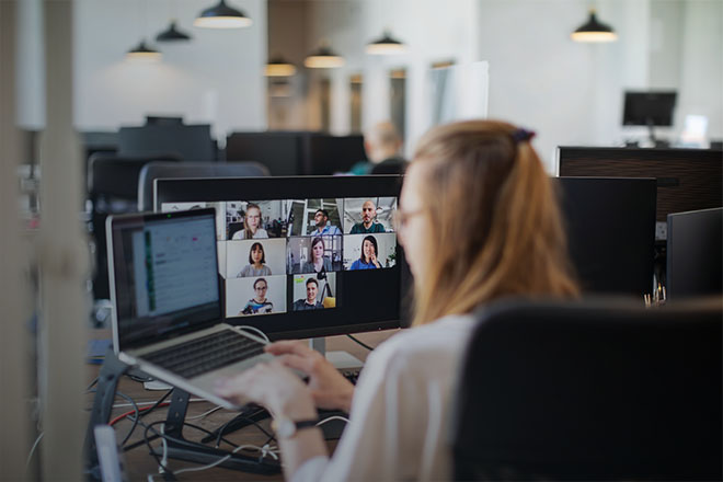 A woman working on a video call