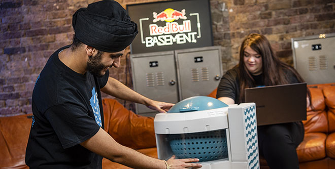 A team showcasing their Red Bull Basement project