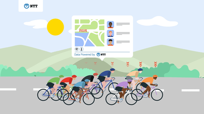 NTT illustration showcasing cyclists