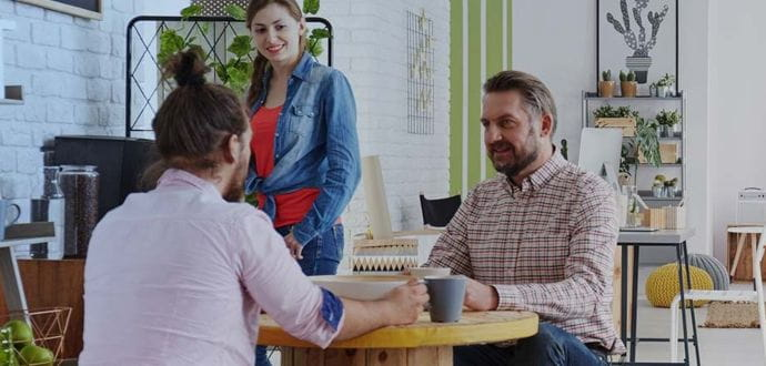 People sitting in an informal office area