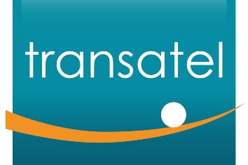 Blue background logo with an orange line and white small ball