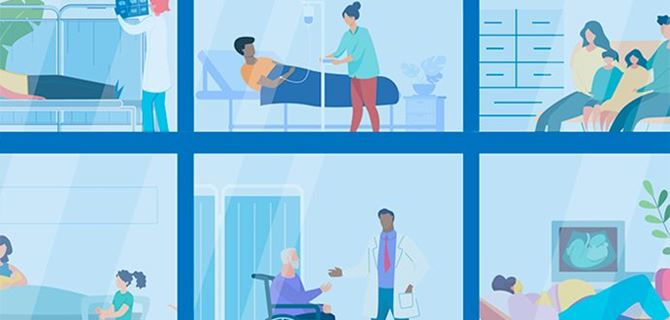 Animated image of people in hospital beds