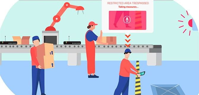 Animated image of factory workers