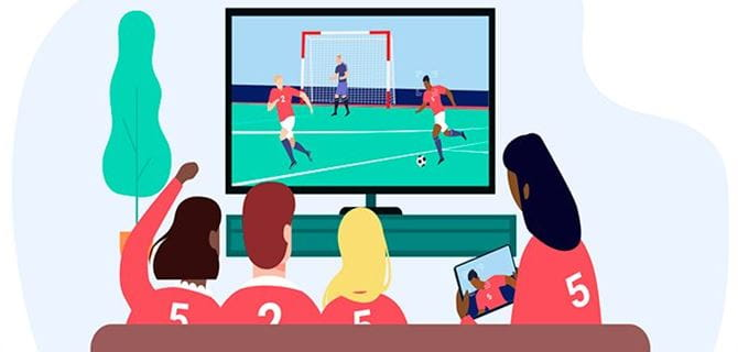 Animated image of sports fans watching sport on a television