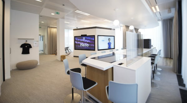 White and brown office furniture