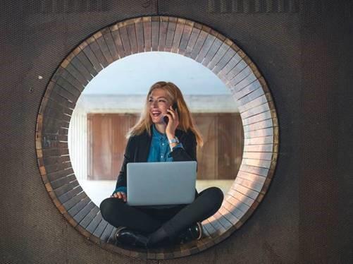 Woman sitting inside a circle