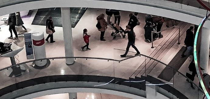 People walking in a retail center