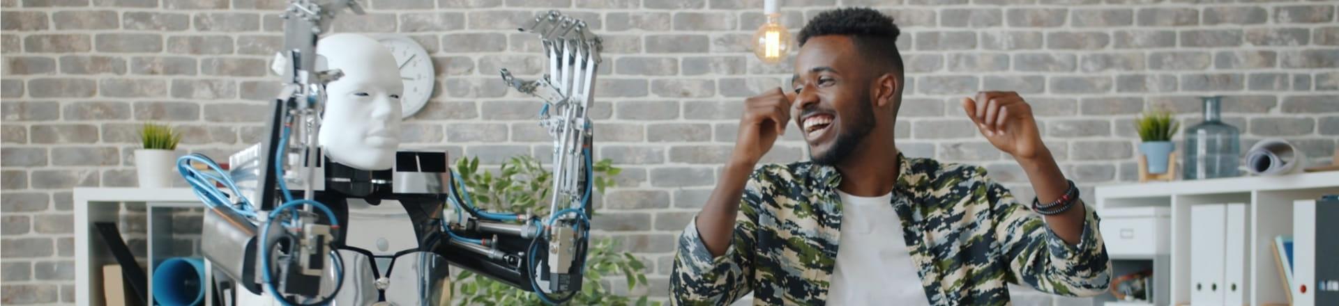 A robot alongside a person