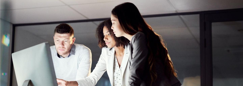 Three team members in a meeting