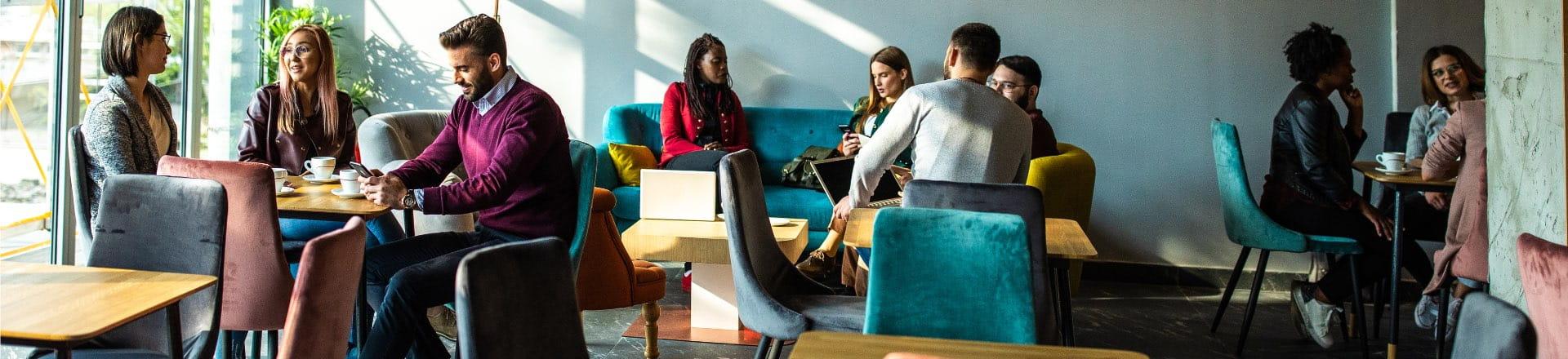 Business professionals having tea