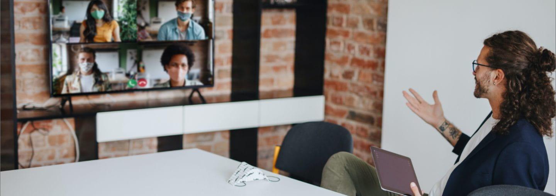 Man talking in a Microsoft Teams meeting