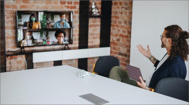 Man talking during Microsoft Teams meeting