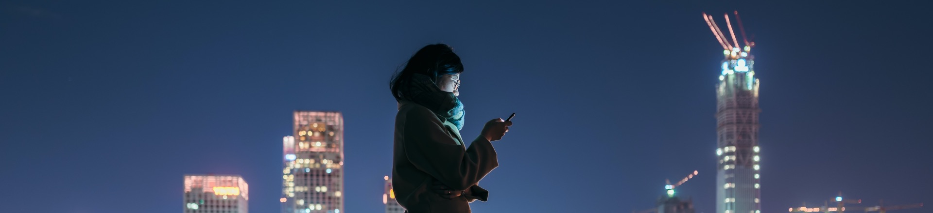 A person standing silhouetted against a city at night