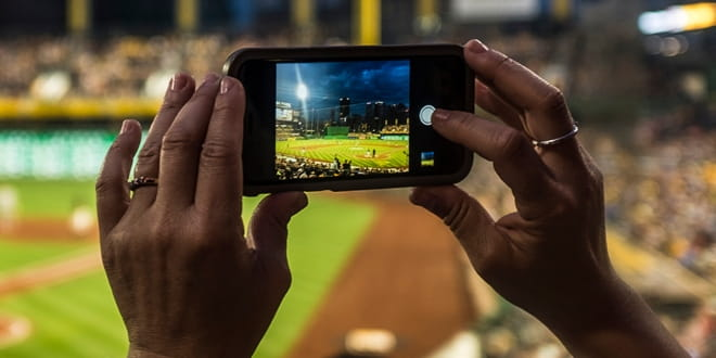 Taking a picture at a stadium