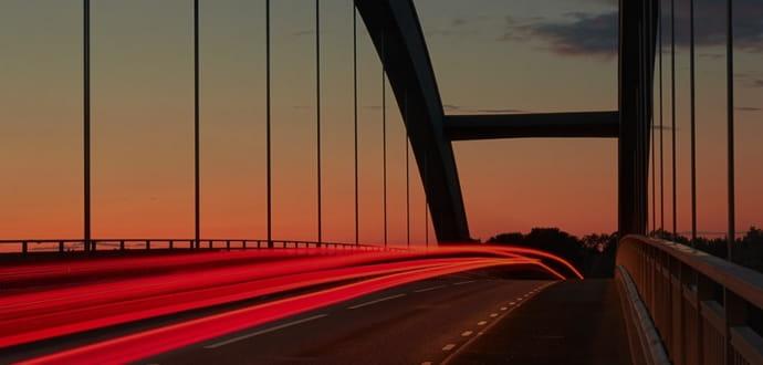 A bridge at sunset
