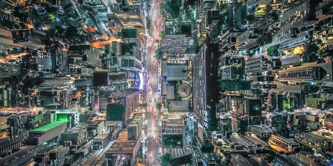 Arial view of busy city streets at night
