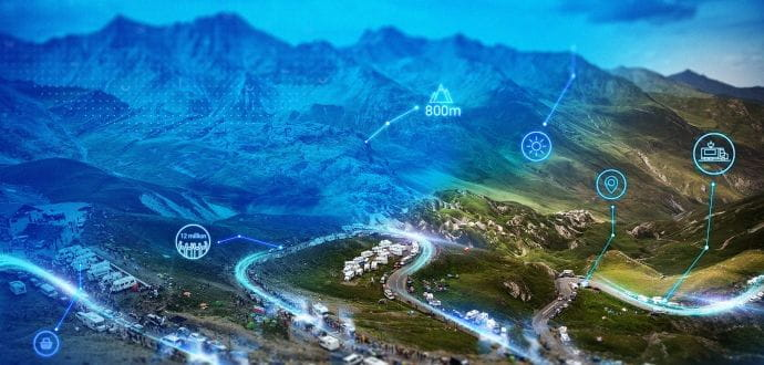 Data points on aerial view of Tour de France route