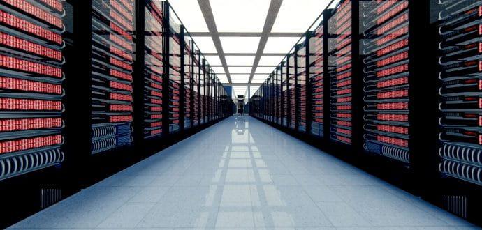 Long corridor in a server room