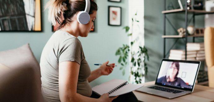 Woman in online meeting