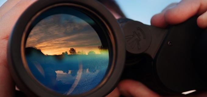 Reflection in a binocular lens